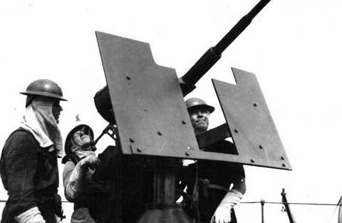 DEMS Gunners manning a 20mm Oerlikon gun (High Angle fire)
