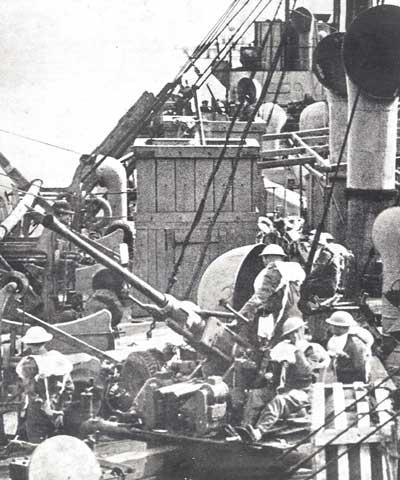 A Bofors gun onboard a cargo ship